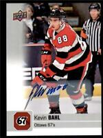 2019-20 UD CHL Autographs Parallel Auto #29 Kevin Bahl - Ottawa 67's