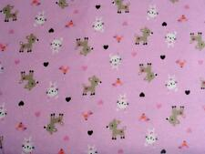 CRIB/TODDLER SHEET/FITTED/FLANNEL - BABY FAWNS AND BABY BUNNIES ON PINK