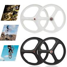 700c Fixed Gear 3-Spoke Mag Wheels Rims Set of Front & Rear Fixie Bike 17 Teeth