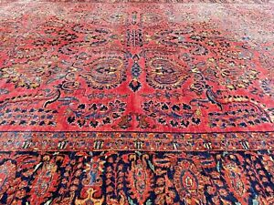 Auth: 20's  Antique Sarougk  Botanical Stately Worn Beauty    RED 10x16   NO RES