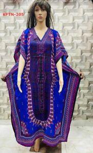 F4-KFTN-205 Ladies New Summer Long Print Kaftan Dress Relaxed Loungewear