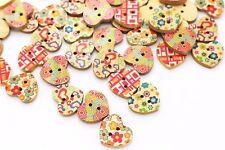 Heart Shaped Wooden Button Mix Lot Flower Pattern DIY Baby Children Wood 20pcs