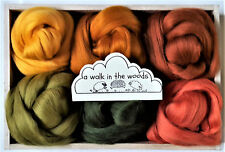 Merino Wool roving/ tops / Felting, needle felting, woodland colours 60g