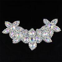 1X Clear Motif Rhinestone Applique Sew/Iron on Beaded Bridal Sash Trimming Craft