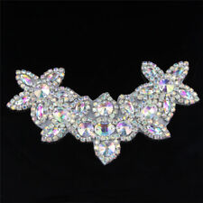 Silver Collar Motif Crystal Rhinestone Applique Sew Iron on Wedding Bridal Dress