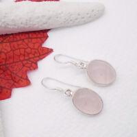 Rosenquarz rosa oval Design Hänger Ohrringe Ohrhänger 925 Sterling Silber neu