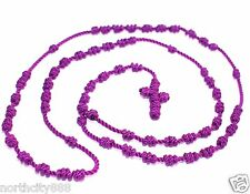 knotted Rosary Necklace cord rope beads Religious Rosarie purple