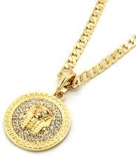 "Mens Medallion Pharaoh Gold Clear 24"" Cuban Curb Chain Pendant Necklace"