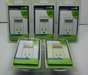 (5) -Leviton T7591 Smart Lock Pro 15A 125V GFCI TR Outlet & LED Auto Guide Light