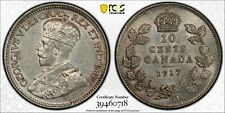 Weeda Canada 1917 silver dime, PCGS certified AU 58