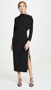 A.L.C. ALC Naveen Stretch Crepe Draped Neck Dolman Sleeve Midi Dress 12 L Black
