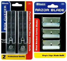 2 x Cutter + 10 Blade Snap Off Box Utility Knife Razor Carton Knifes Single Edge