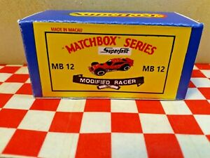 Matchbox Superfast MB-12 Modified Racer Custom EMPTY REPRO BOX ONLY NO CAR