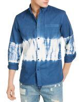 Sun + Stone Mens Shirt Blue White Size Large L Tie Dye Twill Button Down $45 064