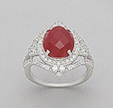 Solid Sterling Silver Orange Carnelian Regal SPARKLING Ring $160 sz8
