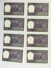 1949-1957 INDIA Consecutive Serial # ONE 1 RUPEE Reserve Bank NOTE Set of 8