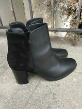 CO OP Barneys New York Black Suede Leather Round Toe Tall Ankle Booties 40