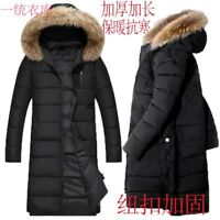 New Mens Fur Hooded Cotton Down Warm Coat Long Winter Thicken Parka Outwear Ch18