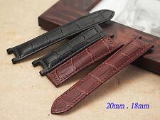 Genuine Leather Band Strap bracelet (fits) Cartier Pasha 20mm x 18mm black brown