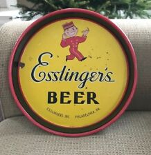"Vintage Esslinger Beer 13"" Metal Tin Litho Tray Little Man Phila Pa Yellow"