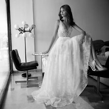 Boho Lace Wedding Dresses Deep V Neck Bohemia Beach Holiday Dress Bridal Gowns