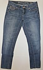 Grace In La Skinny Jeans Juniors Embellished Pockets Size 3/25 BLING Rhinestone