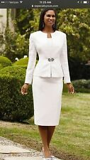TALLY TAYLOR WHITE SUIT/SIZE 8/LINED/SKIRT LENGTH 32'/RETAIL$240/NEW WITH TAG