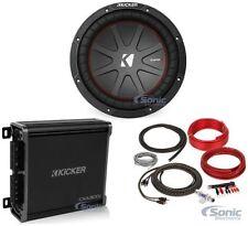 "Kicker Comp R 43CWR104 800W 10"" Car Audio Subwoofer + Mono Kicker Amp + Amp Kit"