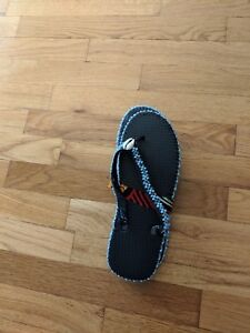 Flip-flops Flats with light blue and clear beads with one cowry shell size large