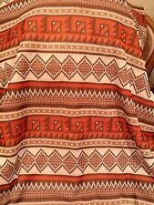 Vintage Polyester Knit Fabric Tribal Ethnic Pattern For Shawl Or Sweater Brown