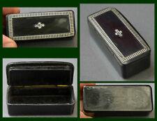 Tabatière papier maché laquée noir incrustée d'argent Napoléon III snuff box (9)