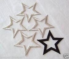 "STARS Fusible/ Iron On Applique Silver Metallic Satin Stitch 3"" Open STARS (5)"