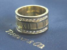 Tiffany & Co 18Kt Atlas Diamond Yellow Gold WIDE Ring .84Ct Size 8 12mm