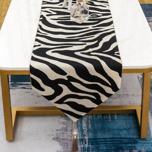 Animal Zebra Print Black Thick Polyester Deco Tessels Wedding Table Runner Cloth