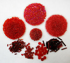 Red Bead Assortment Rocaille Seed Beads, Bugle Beads, Facet Beads 7375+ pcs