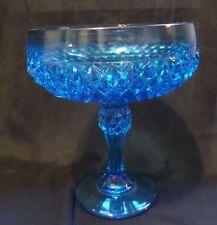 """Vintage INDIANA GLASS Blue Candy Dish/Compote Bowl on Pedestal - 7 1/3"""" Tall"""