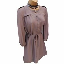 M&S Autograph Khaki Grey Casual Office Work Shirt Style Chelsea Dress 8-10 UK