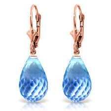 28 Carat 14K Solid Rose Gold Blue Topaz Briolette Swing Earrings