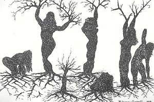 A forest of women trees - Surreal signed print WHO's WHO IN AMERICAN ART artist!