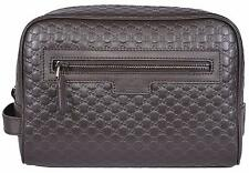 New Gucci Men's 419775 Brown Leather Micro GG Guccissima Large Toiletry Dopp Bag