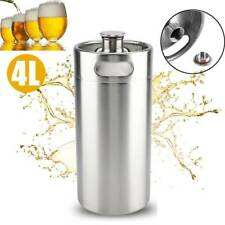 4L Portable Mini Stainless Steel Beer Keg Wine Brew Growler Bottle Pot Screw Cap