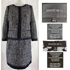 LAFAYETTE 148 Women's 14 Dimensional Textured Check Tweed Jacket Dress Suit EUC