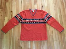 Eddie Bauer Women's Size M 100% Lambswool V-Neck NORDIC SKI Sweater - ORANGE