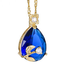 Melina Jewelry Melina Pear Cut Blue Sapphire Gold Tone Pendant Necklace Gift