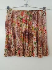 BILA Pink Green Floral Animal Print Knee Length A-Line Skirt Size XL