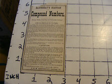 Vintage paper: EASTERDAY'S DIAGRAM OF COMPOUND NUMBERS, Carthage, IL