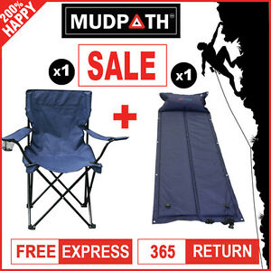 AU OzEagle Self Inflating Mattress Bed + Quad Folding Chair Camping Arm Chair