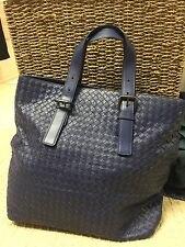 Bottega Veneta  Leather Intrecciato Woven Buckle Handle Tote Bag Navy Unisex