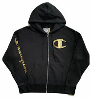 NWT CHAMPION REVERSE WEAVE FULL ZIP BLACK GOLD FOIL HOODIE SIZE XL