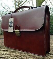Handcrafted DESIGNER Italian Leather Briefcase Laptop Satchel Bag Gift Messenger